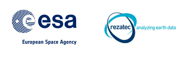 esa (european space agency) and rezatec (analysing earth data) logos